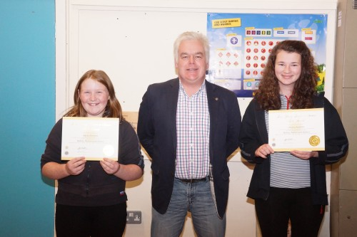 l to r Kayla Cleworth, Vice President Mark Harrison and Jessica Andrews - Young Leaders in Service Award Winners