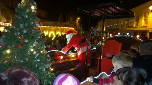 The Christmas Fun Fair provides the backdrop for our sleigh in Malton Market Place.